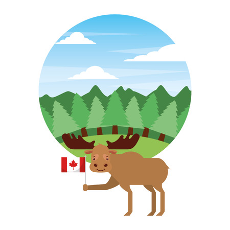 moose holding canadian flag in forest vector illustration