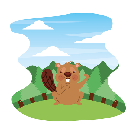 cute beaver in forest landscape vector illustration
