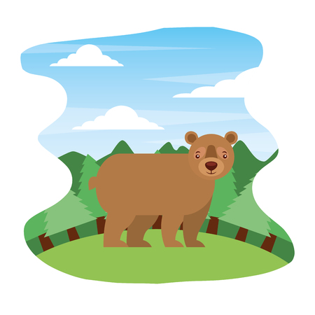 grizzly bear wildlife in forest landscape vector illustration