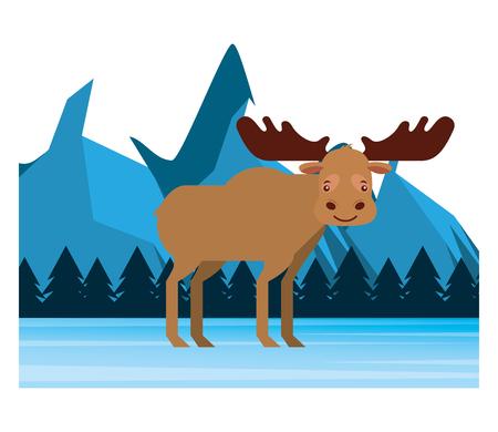 moose in winter forest landscape vector illustration Banque d'images - 103546578