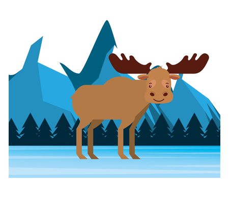 moose in winter forest landscape vector illustration Фото со стока - 103546578