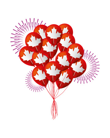 canadian flag in balloons decoration vector illustration