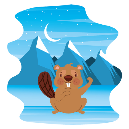 cute beaver in winter landscape vector illustration