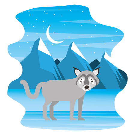 canadian wolf in winter landscape vector illustration  イラスト・ベクター素材