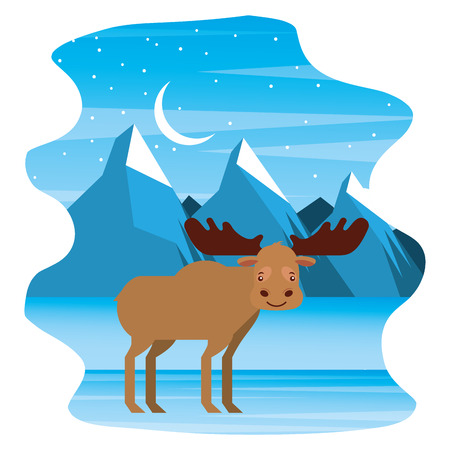 moose in winter nature landscape vector illustration