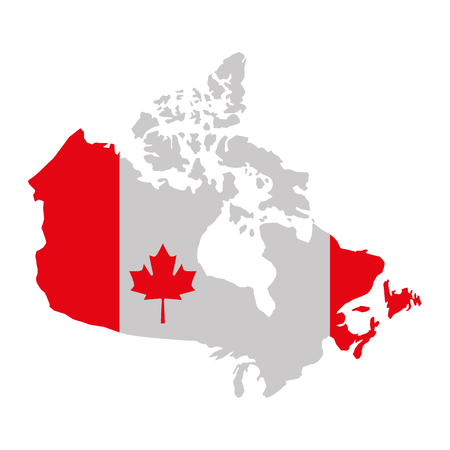 canada day and flag in map country vector illustration