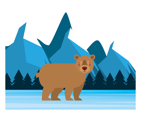bear grizzly in winter forest landscape vector illustration Stock Vector - 103547470