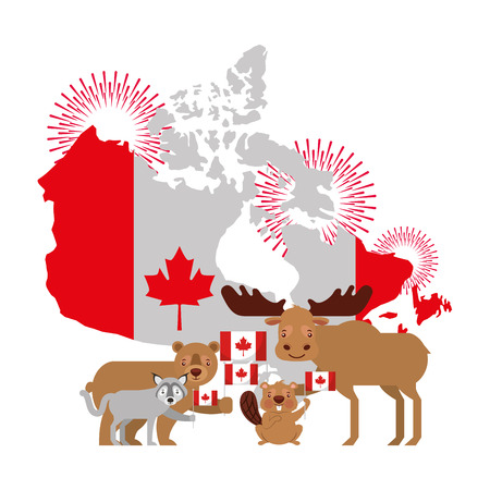 canada day celebration map animals and flag national vector illustration Ilustração