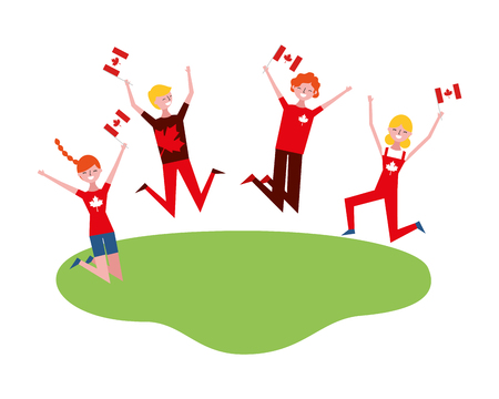 happy group people celebrating canaday day with flags vector illustration