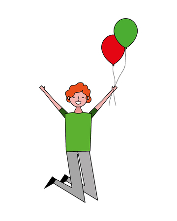 happy celebrating man holding balloons vector illustration Foto de archivo - 103547478