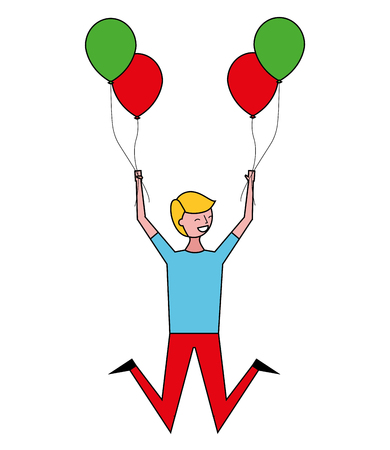 happy celebrating man holding balloons vector illustration Vettoriali