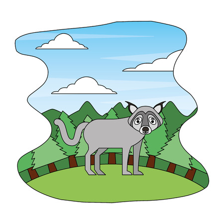 wolf beast creature in forest landscape vector illustration