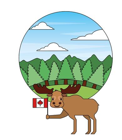moose holding canadian flag in forest vector illustration