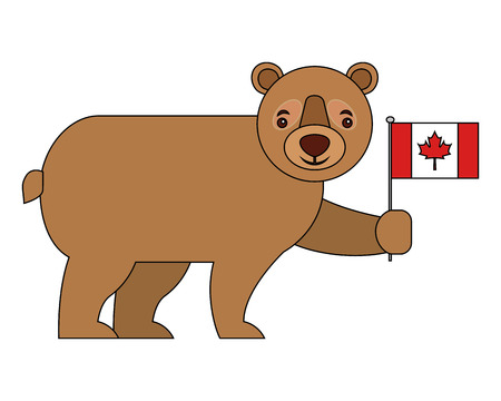 cute bear holding canadian flag vector illustration Illusztráció