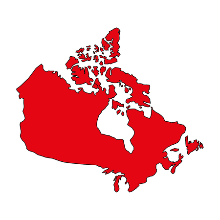 red canadian map geography country vector illustration Stock Vector - 103547568