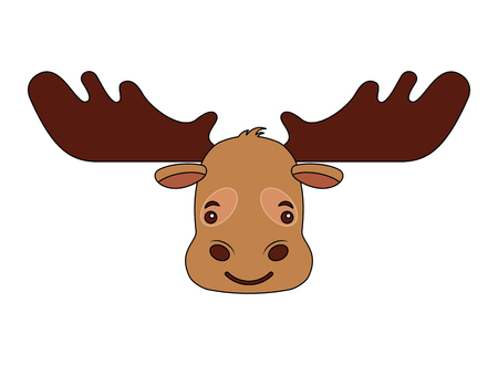 cartoon moose head portrait wild vector illustration