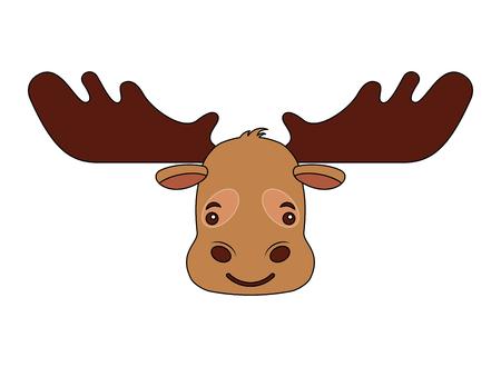 cartoon moose head portrait wild vector illustration