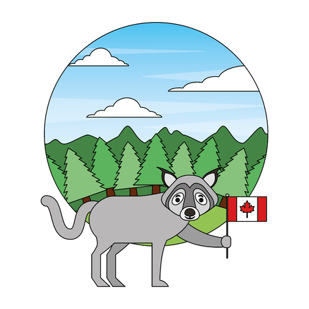 wolf holding canadian flag in forest vector illustration