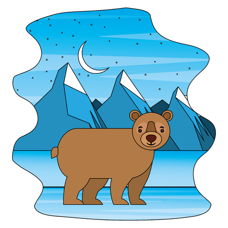 bear grizzly in winter moon landscape vector illustration  イラスト・ベクター素材
