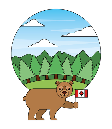 cute bear holding canadian flag in landscape vector illustration