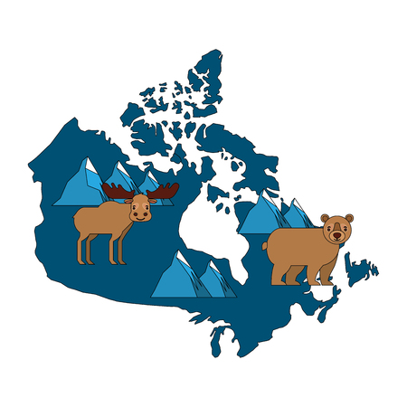 canadian map with wolf bear moose and beaver wildlife vector illustration