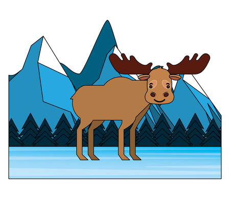 moose in winter forest landscape vector illustration