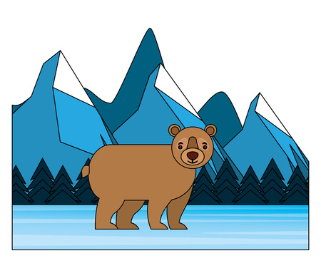 bear grizzly in winter forest landscape vector illustration