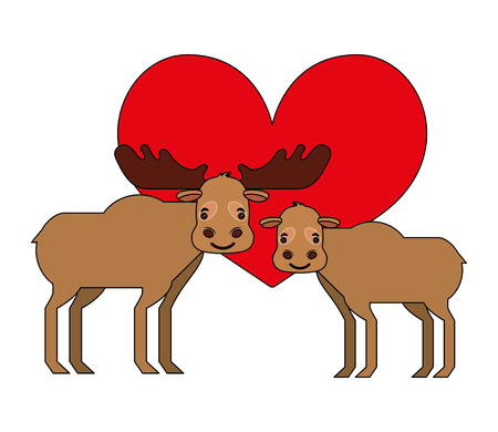 cute cartoon  couple  moose in heart love vector illustration