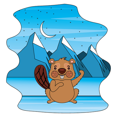 cute beaver in winter landscape vector illustration