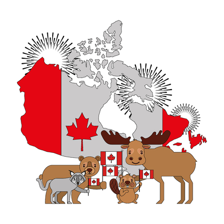 canada day celebration map animals and flag national vector illustration Ilustração