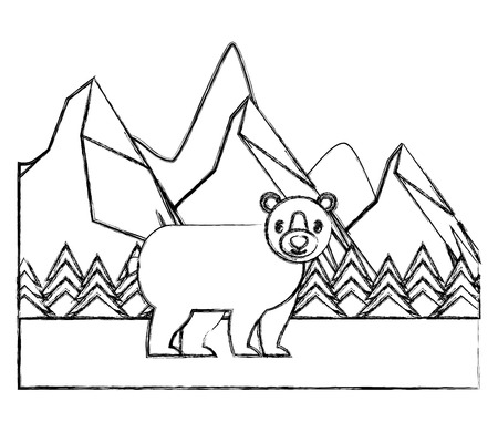 bear grizzly in winter forest landscape vector illustration sketch