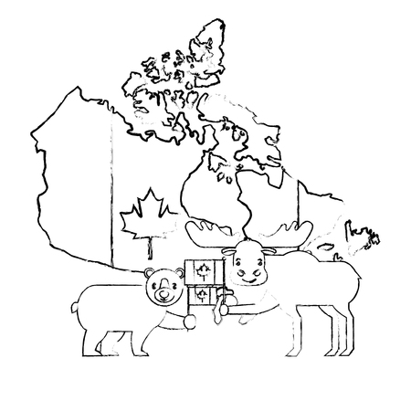 canada day celebration map animals and flag national vector illustration sketch