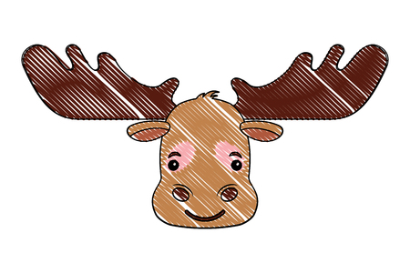 head wild reindeer animal icon vector illustration design