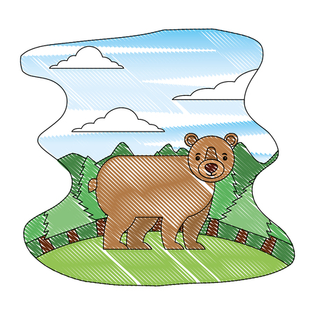 wild bear grizzly with landscape isolated icon vector illustration design 向量圖像