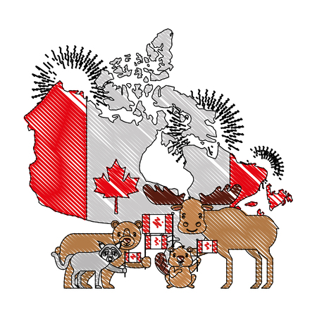 canadian map with flag and animals vector illustration design