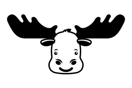 head wild reindeer animal icon vector illustration design