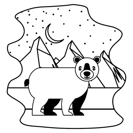 wild bear grizzly with landscape snowly isolated icon vector illustration design 일러스트