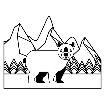 wild bear grizzly with landscape snowly isolated icon vector illustration design Ilustração