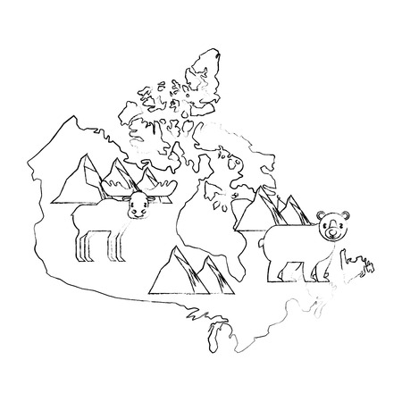 canada map silhouette with reindeer and bear grizzly vector illustration design