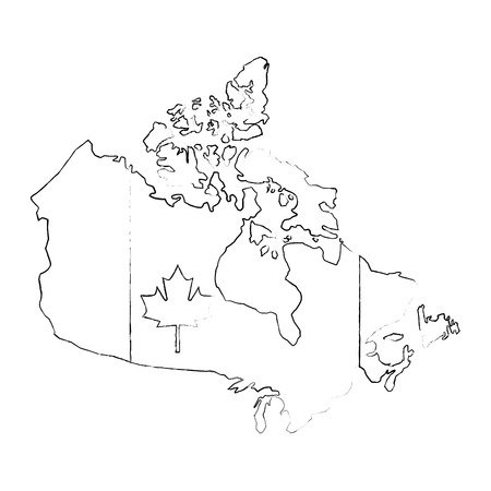 canadian map with flag vector illustration design Stock fotó - 103552182