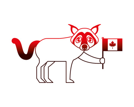 wolf holding canadian flag character vector illustration neon