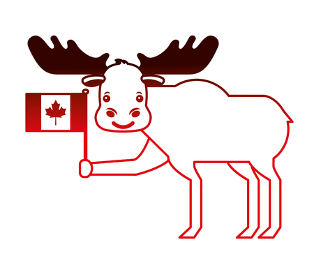 cute moose holding canadian flag vector illustration neon