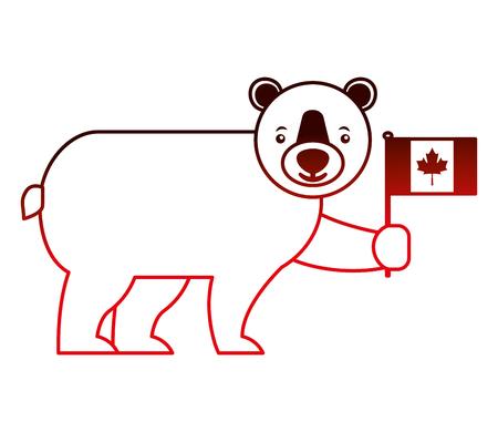 cute bear holding canadian flag vector illustration neon