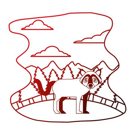 wolf beast creature in forest landscape vector illustration neon Illustration