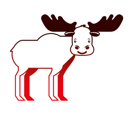 moose animal canada nature wild vector illustration neon