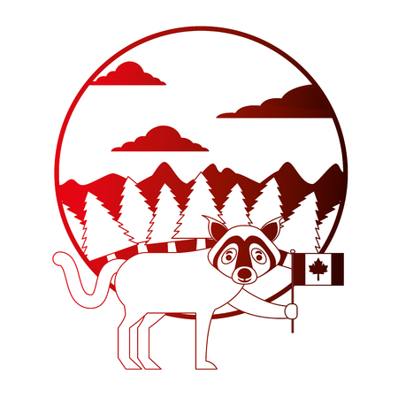 wolf holding canadian flag in forest vector illustration neon