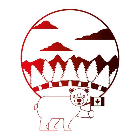 cute bear holding canadian flag in landscape vector illustration neon Illustration