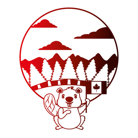 cute beaver holding flag of canada in forest vector illustration neon