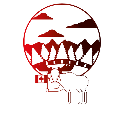 moose holding canadian flag in forest vector illustration neon