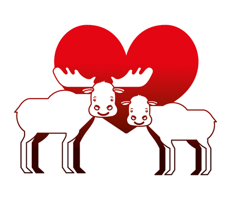 cute cartoon  couple  moose in heart love vector illustration neon